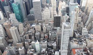 航拍视角城市的建筑群摄影高清图片