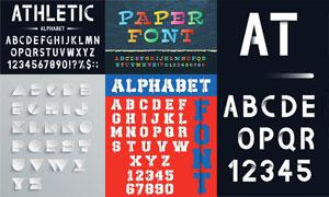 几款折纸效果立体英文字母矢量素材