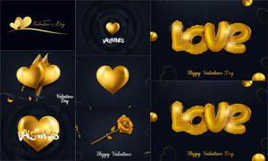 金色心形与玫瑰花创意设计矢量素材