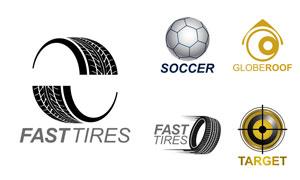 轮胎与足球等元素标志创意矢量素材
