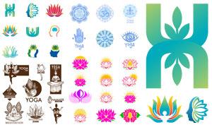 莲花图案瑜伽运动标志设计矢量素材