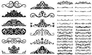 花纹装饰图案与分隔线元素矢量素材