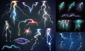 夜空中的绚丽闪电元素创意矢量素材