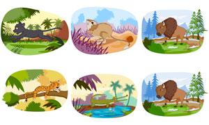 黑豹与鳄鱼等卡通创意动物矢量素材