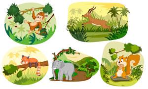 大象与猴子等卡通效果动物矢量素材