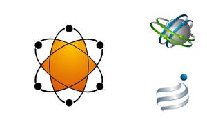 球体与曲线等元素抽象标志矢量素材