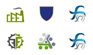 盾牌与字母变形等创意标志矢量素材