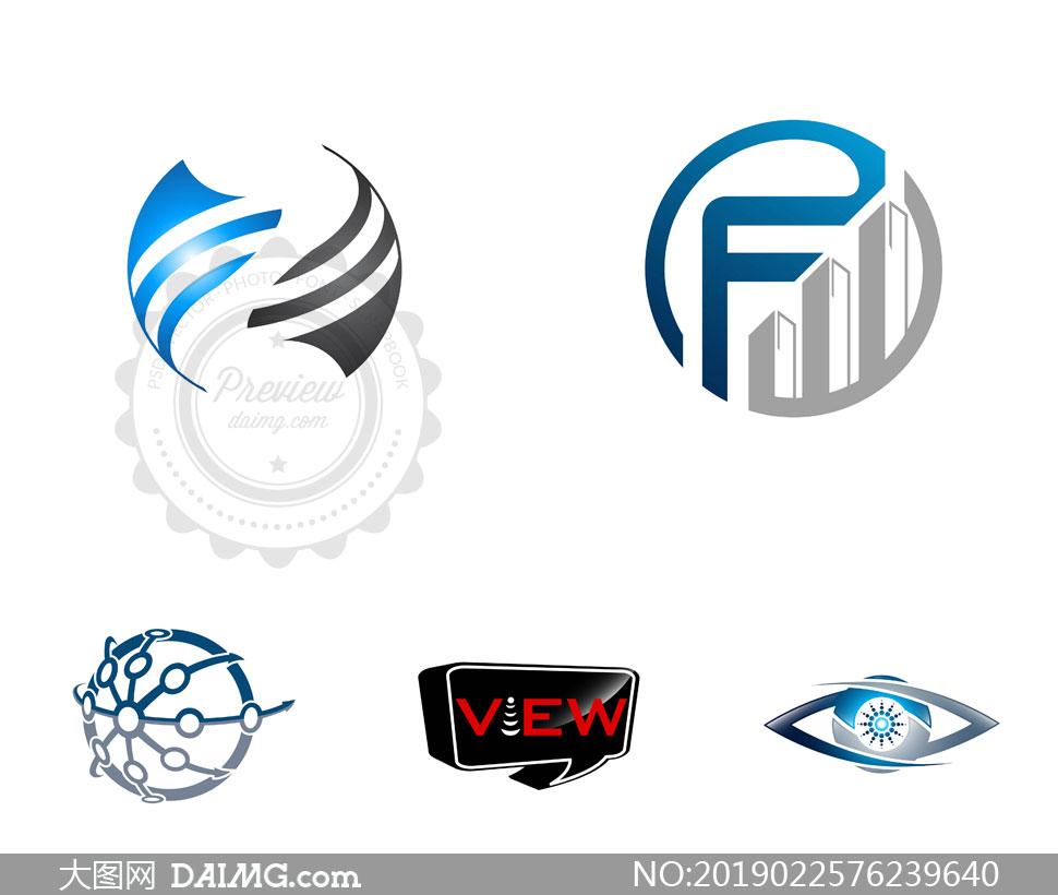 眼睛与圆形等图形创意标志矢量素材图片