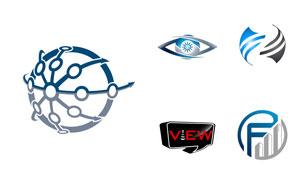 眼睛与圆形等图形创意标志矢量素材
