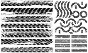 各种纹理黑白效果轮胎痕迹矢量素材
