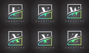 字母与边框创意组合设计矢量素材V1