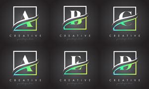 字母与边框创意组合设计矢量素材V2