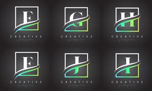 字母与边框创意组合设计矢量素材V3