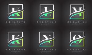 字母与边框创意组合设计矢量素材V4