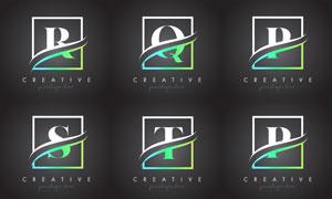 字母与边框创意组合设计矢量素材V5