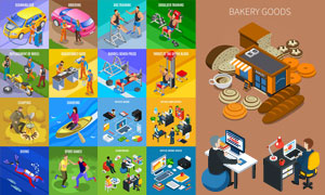 面包食物与健身运动等创意矢量素材