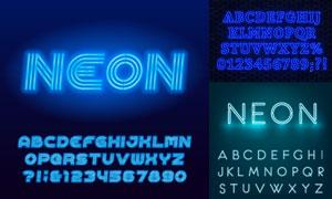 藍色霓虹光效英文字母設計矢量素材