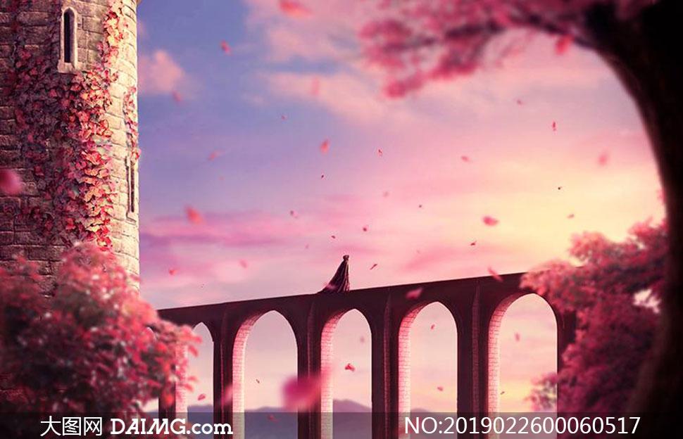 城堡下的秋季唯美场景PS教程素材
