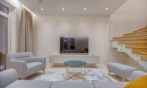 客厅沙发与电视等摆放效果高清图片