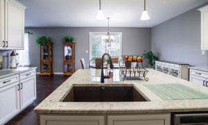 廚房桌椅與操作臺效果攝影高清圖片