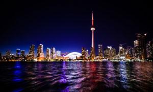 加拿大多倫多城市夜景攝影高清圖片