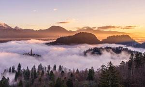 黄昏山间云海树林风光摄影高清图片