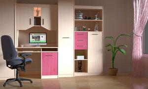 书房桌椅与柜子等布置摄影高清图片