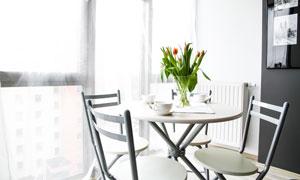 椅子与餐桌上的郁金香摄影高清图片