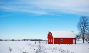 蓝天与雪地中的红房子摄影高清图片