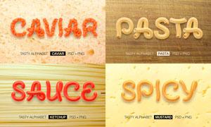 食物和美食為主題的字母設計PSD素材