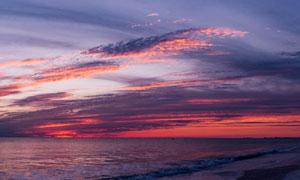夕阳西下大海云霞风光摄影高清图片