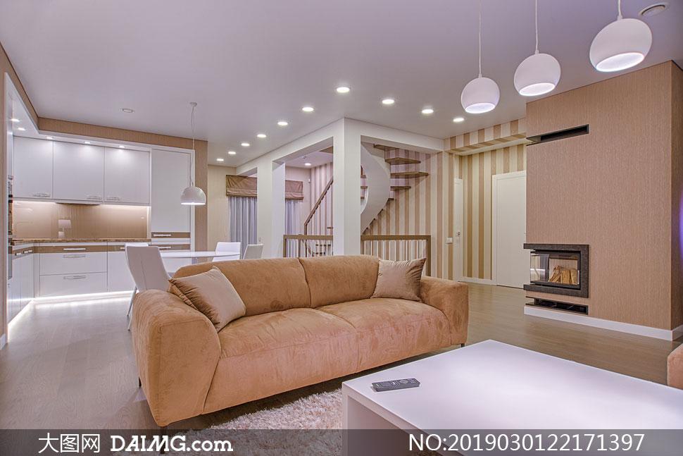 客厅与厨房等内景布置摄影高清图片
