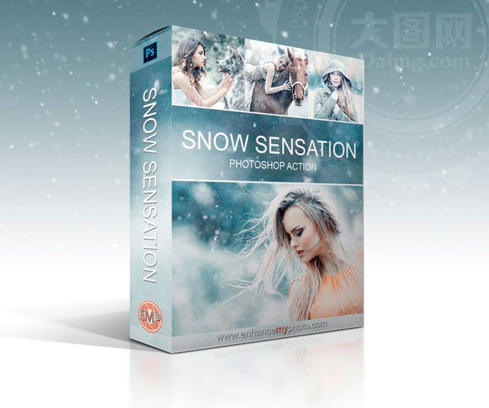 中文版冬季唯美下雪效果PS动作