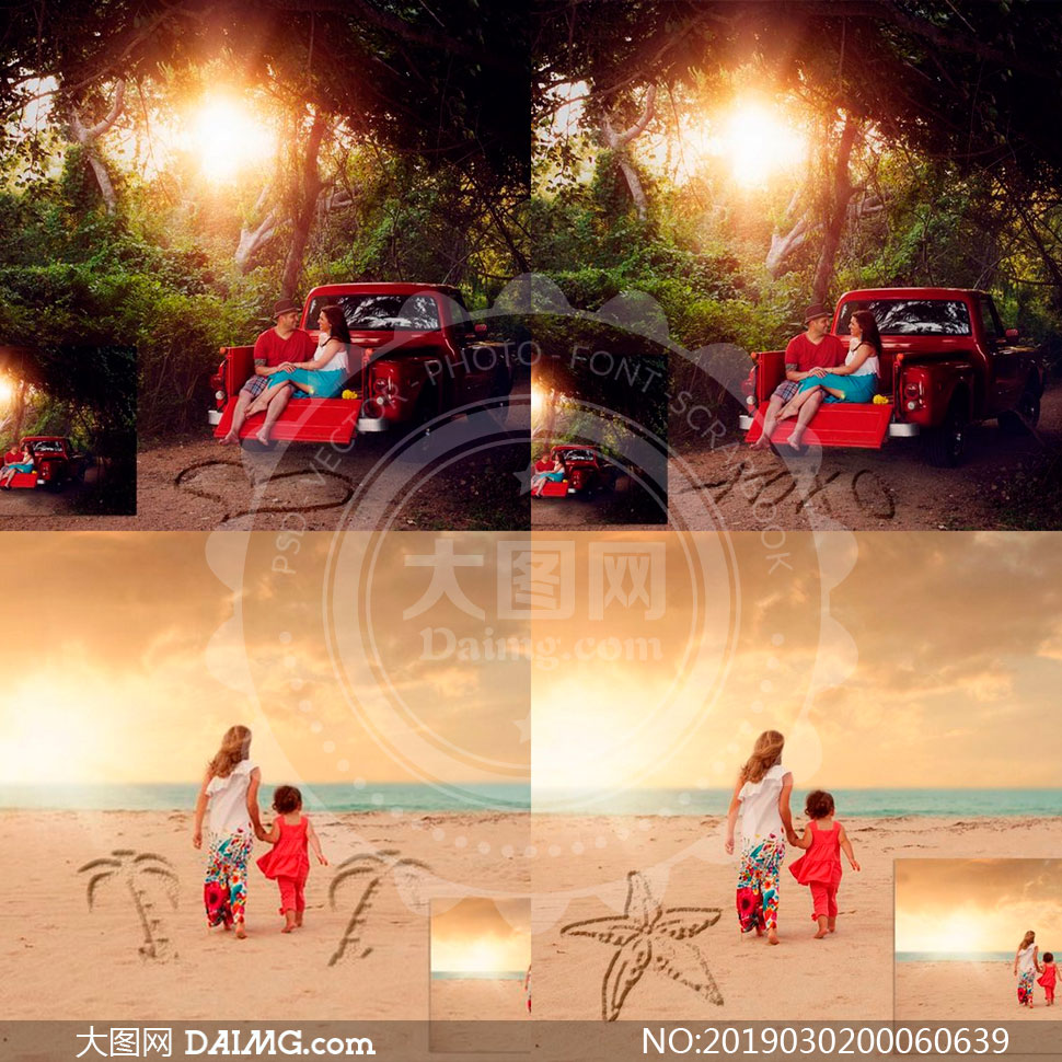 沙滩照片添加手绘图案特效PS动作