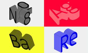 三明治主题风格3D艺术字PSD模板