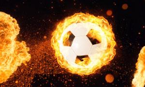 被火苗裹挟的足球创意设计高清图片