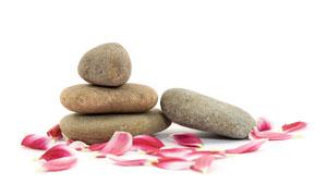 鵝卵石與粉紅色的花瓣攝影高清圖片