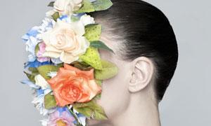 脸上鲜花装饰效果美女创意高清图片