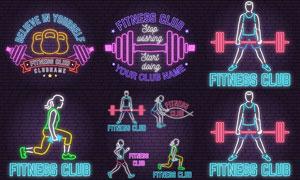 霓虹光效俱樂部燈箱標志矢量素材V1