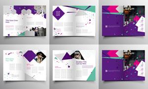 紫色图形元素杂志画册设计矢量素材