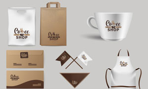 手提袋等咖啡店鋪視覺元素矢量素材
