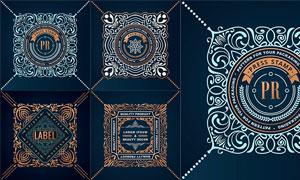 方形欧美风格花纹图案设计矢量素材
