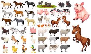 马匹奶牛与绵羊等卡通动物矢量素材