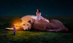 美女和野獸唯美場景合成PS教程素材