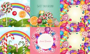不同颜色与口味的糖果主题矢量素材