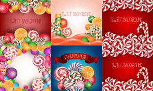 五彩甜蜜的棒棒糖主題設計矢量素材