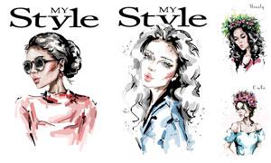 手绘创意美女人物绘画设计矢量素材