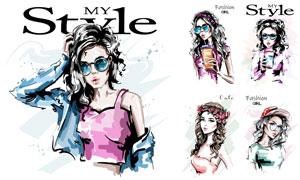 时尚休闲美女人物手绘创意矢量素材