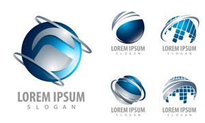 蓝色地球变形创意标志设计矢量素材