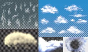 逼真效果灰白色烟雾主题矢量素材V02